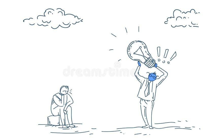 Concepto de la idea de la lámpara de la luz del control del hombre de negocios nuevo en el garabato blanco del bosquejo del fondo libre illustration