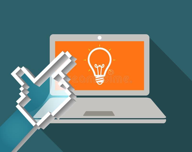 Concepto de la idea Mano y ordenador portátil moderno stock de ilustración