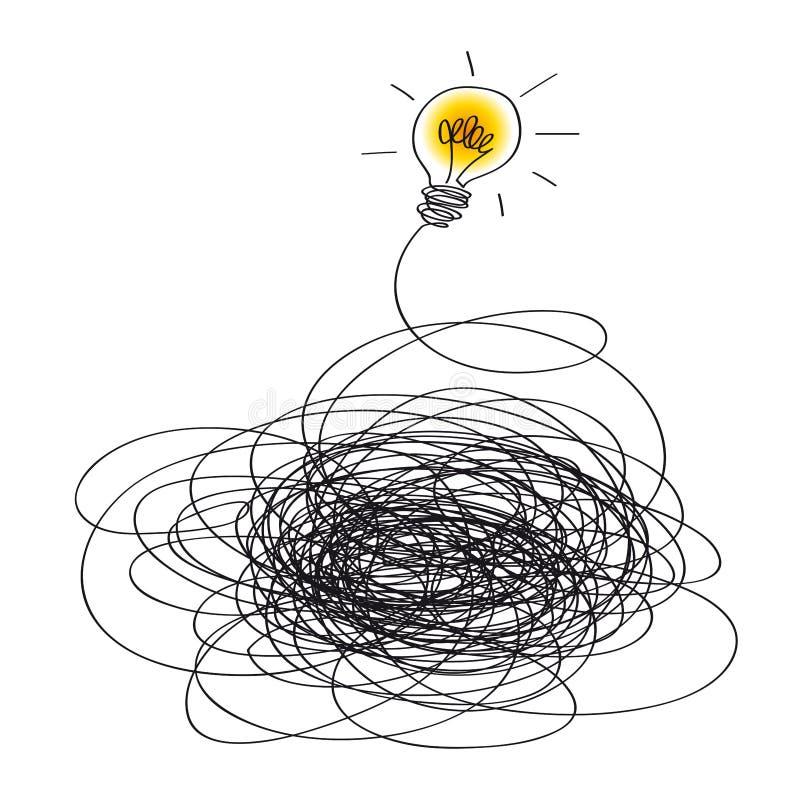Concepto de la idea simbolizado por una bombilla que se enciende para arriba stock de ilustración