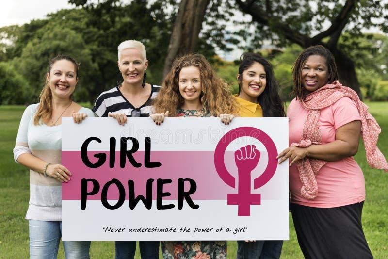 Concepto de la igualdad de oportunidades del feminismo del poder de la muchacha de las mujeres imágenes de archivo libres de regalías