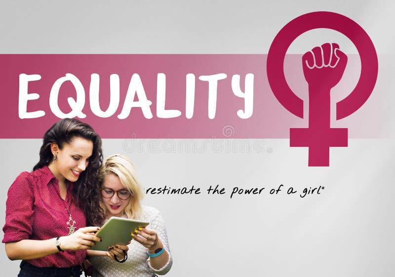Concepto de la igualdad de oportunidades del feminismo del poder de la muchacha de las mujeres fotografía de archivo libre de regalías