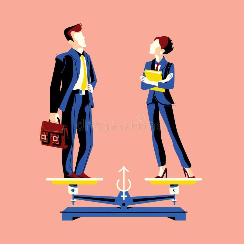 Concepto de la igualdad de género con la mujer y el hombre en escalas iguales de la altura stock de ilustración