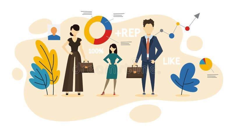 Concepto de la imagen Idea de la marca y de la reputación personales ilustración del vector