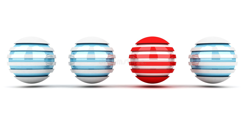 Concepto de la individualidad de esferas azules y rojas stock de ilustración