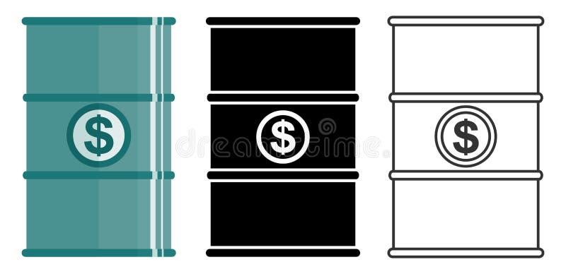 Concepto de la industria Barril del petróleo con la muestra de dólar Sistema de los barriles para los aceites, sustancias líquida libre illustration