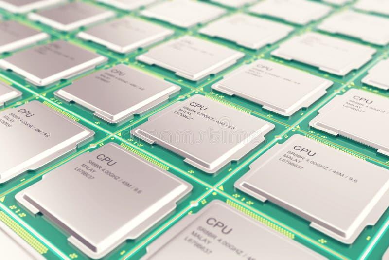 Concepto de la industria de electrónica del microprocesador de la CPU de la PC del ordenador, procesadores viewmodern del primer  libre illustration
