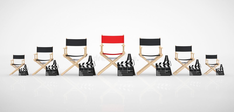 Concepto de la industria del cine Director Chairs, chapaletas de la película y megohmio ilustración del vector