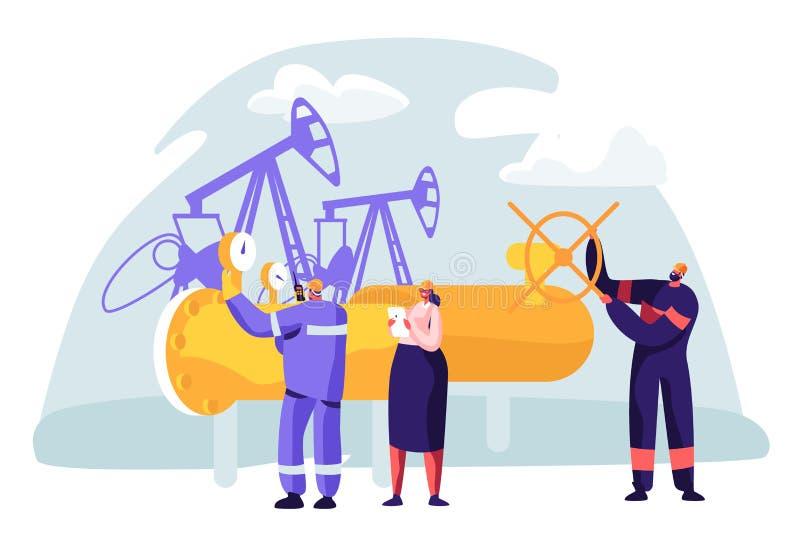 Concepto de la industria del petróleo y gas con el funcionamiento del carácter del hombre en la tubería Trabajador del Oilman en  stock de ilustración
