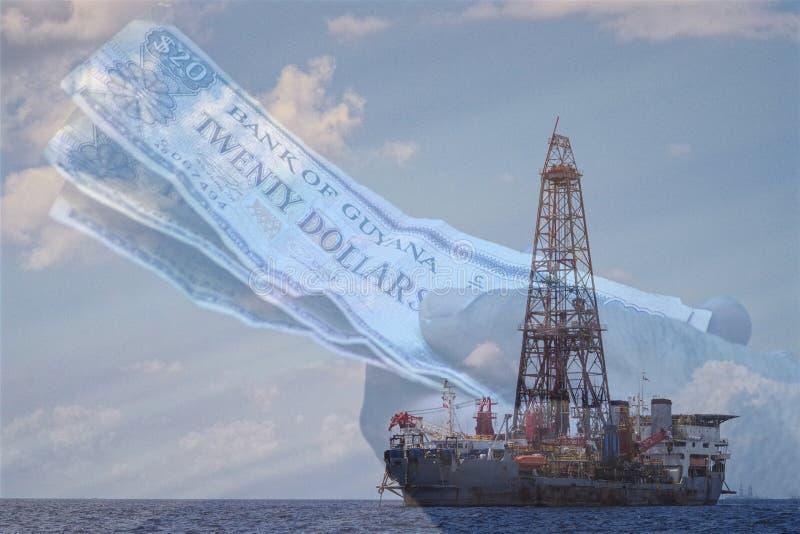 Concepto de la industria en Guyana, nuevo Eldorado del petróleo y gas para los comandantes del aceite imagen de archivo libre de regalías