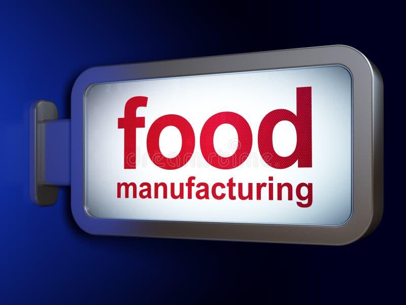 Concepto de la industria: Fabricación de la comida en fondo de la cartelera stock de ilustración