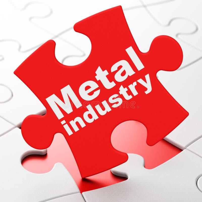 Concepto de la industria: Industria de metal en fondo del rompecabezas stock de ilustración