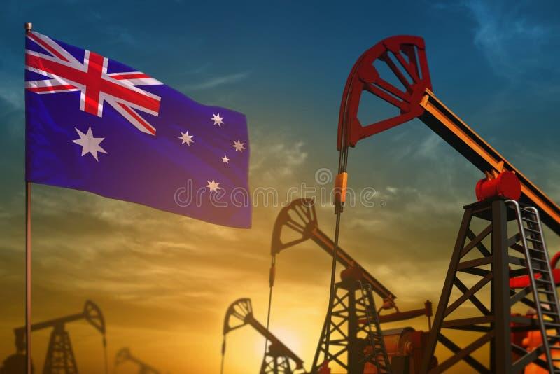 Concepto de la industria de petróleo de Australia Ejemplo industrial - pozos de la bandera y de petróleo de Australia contra el c foto de archivo