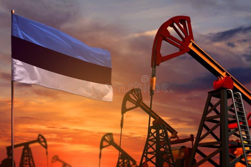 Concepto de la industria de petróleo de Estonia Ejemplo industrial - pozos de la bandera y de petróleo de Estonia con la puesta d ilustración del vector