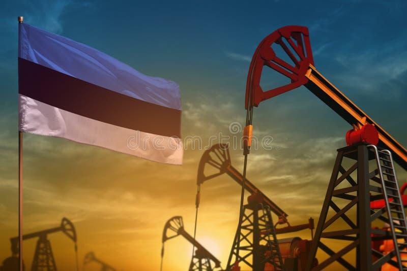 Concepto de la industria de petróleo de Estonia Ejemplo industrial - pozos de la bandera y de petróleo de Estonia contra el cielo libre illustration