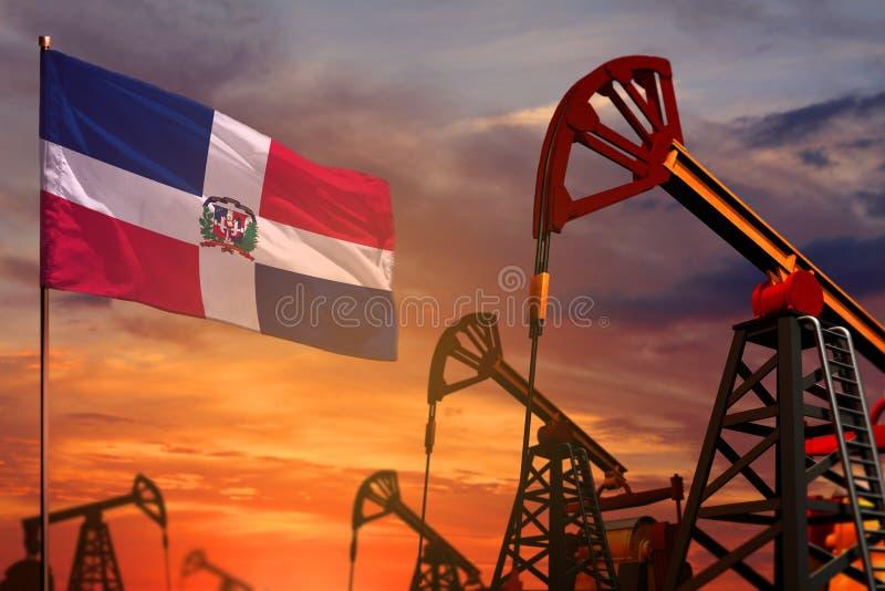 Concepto de la industria de petróleo de la República Dominicana Ejemplo industrial - pozos de la bandera y de petróleo de la Repú libre illustration