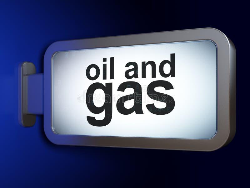 Concepto de la industria: Petróleo y gas en fondo de la cartelera ilustración del vector