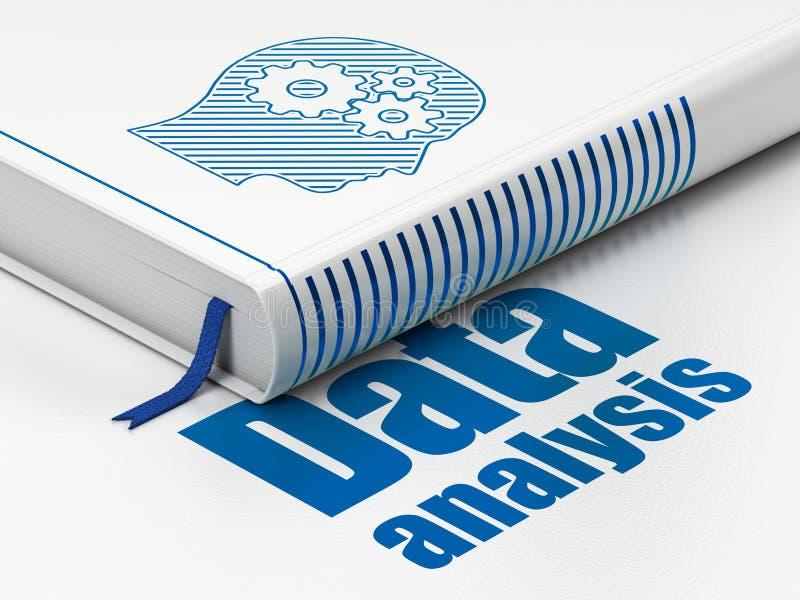 Concepto de la información: cabeza con los engranajes, datos del libro ilustración del vector