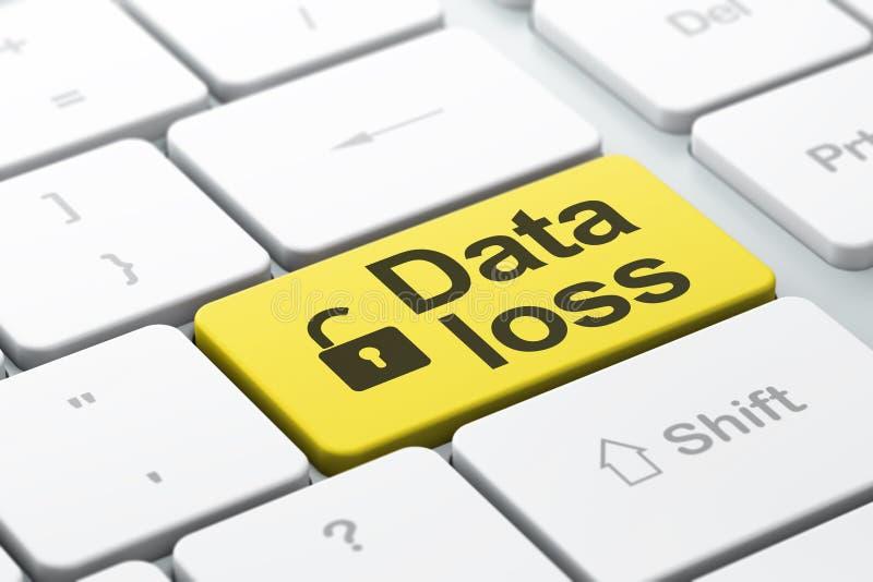 Concepto de la información: Candado abierto y pérdida de datos en el ordenador KE imagen de archivo libre de regalías