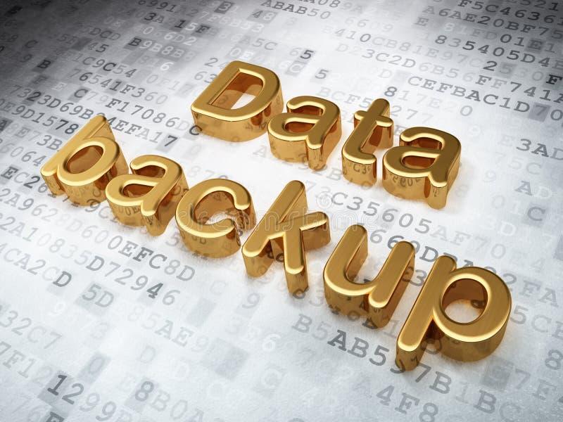 Concepto de la información: Copia de seguridad de datos de oro en digital fotos de archivo libres de regalías