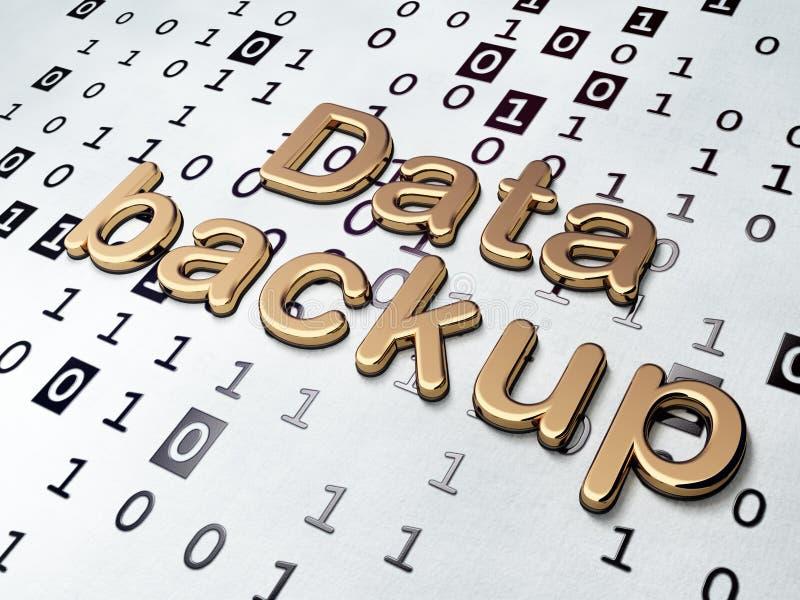 Concepto de la información: Copia de seguridad de datos de oro en fondo del código binario foto de archivo libre de regalías