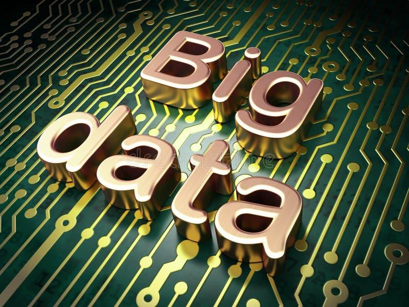 Concepto de la información: Datos grandes sobre fondo de la placa de circuito ilustración del vector