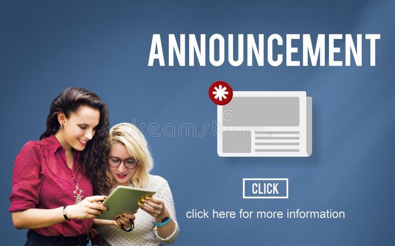Concepto de la información de la actualización del aviso del hoja informativa de las noticias imagen de archivo libre de regalías