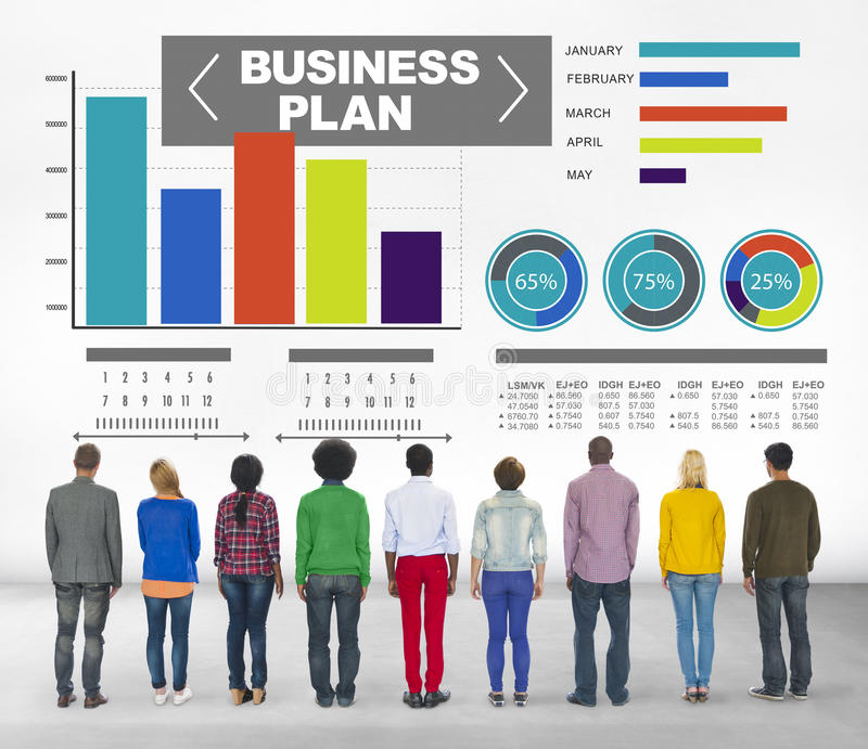 Concepto de la información de la idea de la estrategia de la reunión de reflexión del gráfico del plan empresarial imagen de archivo libre de regalías
