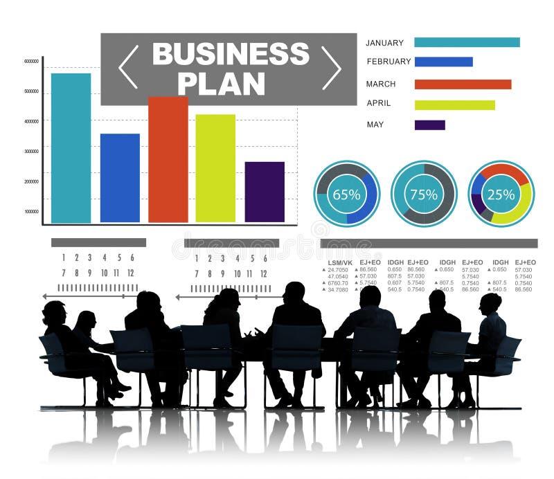 Concepto de la información de la idea de la estrategia de la reunión de reflexión del gráfico del plan empresarial imagenes de archivo