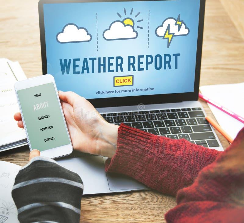 Concepto de la información de las noticias del pronóstico de la predicción del informe meteorológico fotos de archivo libres de regalías