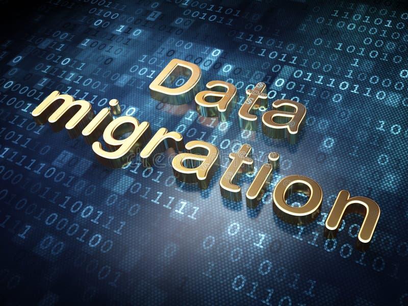 Concepto de la información: Migración de datos de oro encendido libre illustration