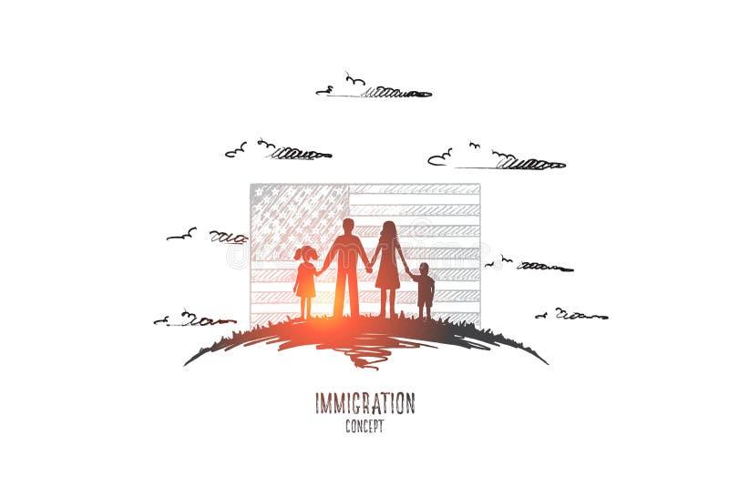 Concepto de la inmigración Vector drenado mano stock de ilustración