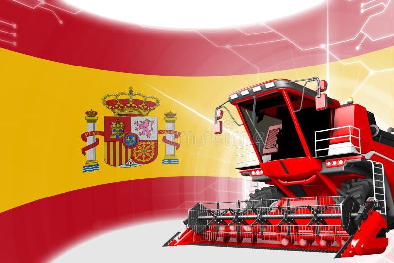 Concepto de la innovación de la agricultura, máquina segadora avanzada roja de grano en la bandera de España - ejemplo industrial ilustración del vector