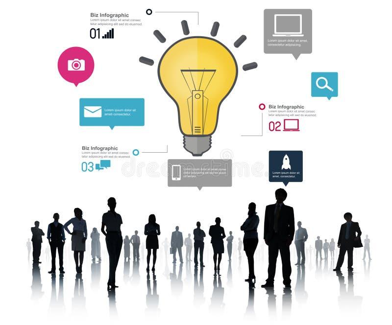 Concepto de la innovación de los negocios Infographic de la creatividad de la inspiración de las ideas stock de ilustración