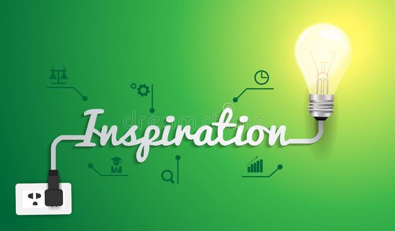Concepto de la inspiración del vector con idea de la bombilla stock de ilustración