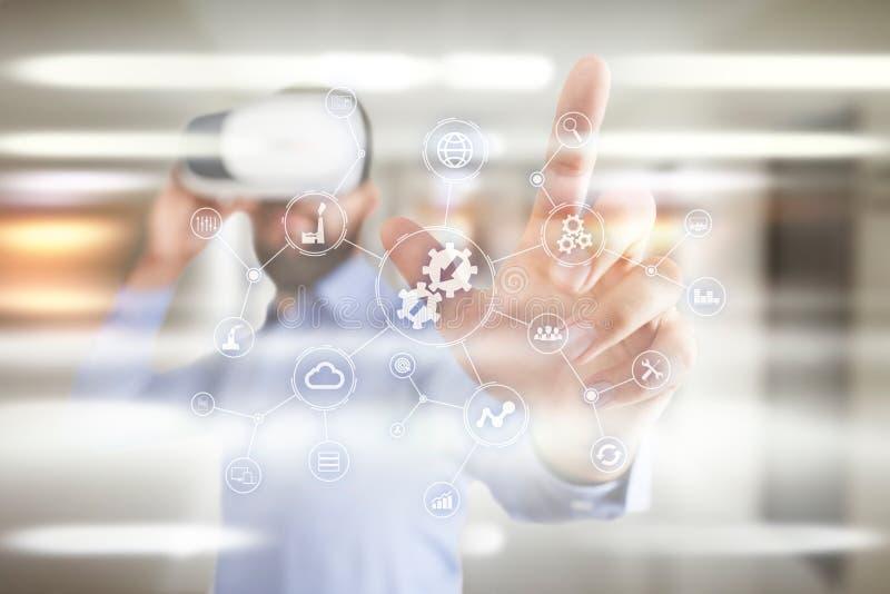 Concepto de la integración Concepto industrial y elegante de la tecnología Soluciones del negocio y de la automatización fotografía de archivo