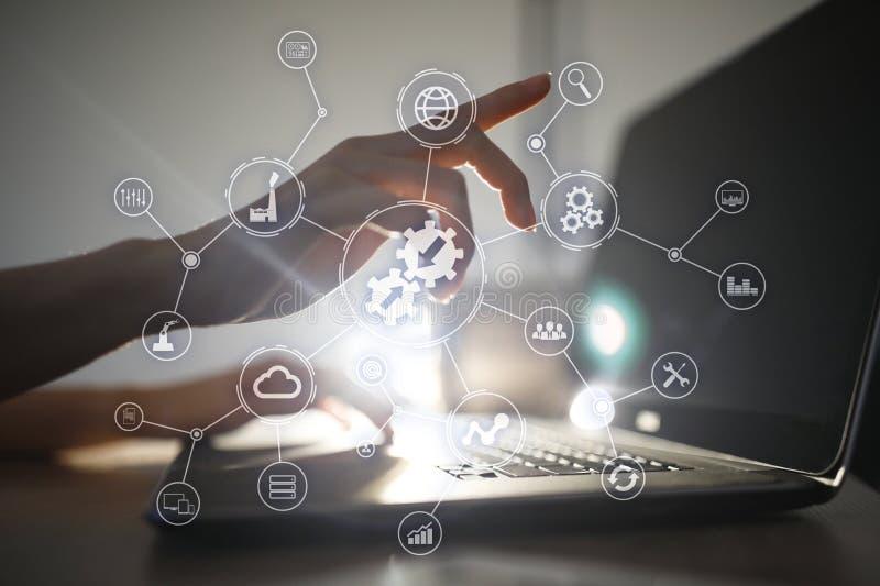 Concepto de la integración Tecnología industrial y elegante Soluciones del negocio y de la automatización imagenes de archivo