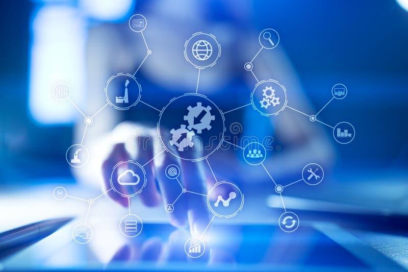 Concepto de la integración Tecnología industrial y elegante Soluciones del negocio y de la automatización stock de ilustración