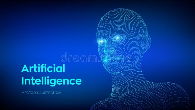 Concepto de la inteligencia de Artifactial Cerebro digital del Ai Rostro humano digital abstracto Cabeza humana en la interpretac ilustración del vector