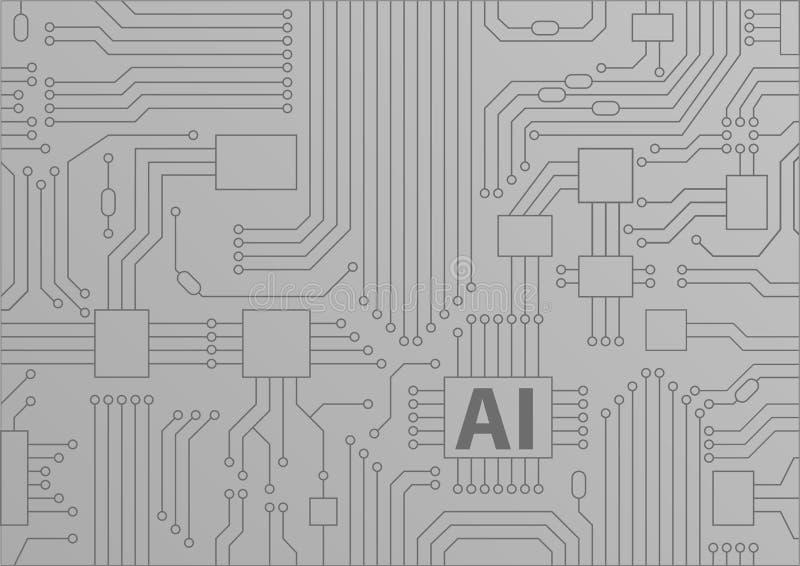 Concepto de la inteligencia artificial/AI como fondo con la CPU/los microchipes stock de ilustración