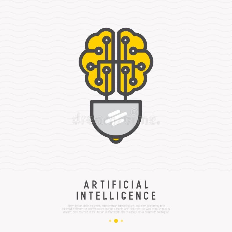 Concepto de la inteligencia artificial: cerebro en la forma de la l?nea fina icono de la bombilla Ejemplo moderno del vector, log stock de ilustración