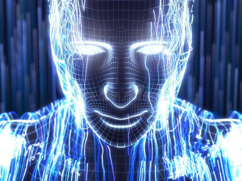 Concepto de la inteligencia artificial con el avatar humano virtual ilustración 3D ilustración del vector