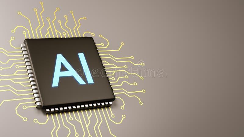 Concepto de la inteligencia artificial del procesador del ordenador ilustración del vector