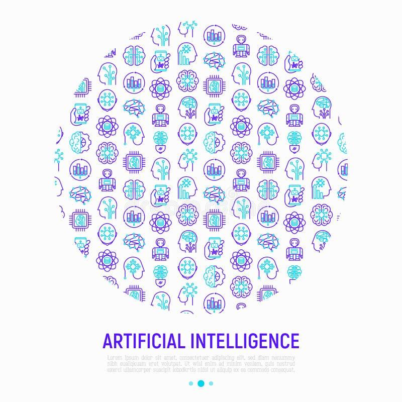 Concepto de la inteligencia artificial en círculo ilustración del vector