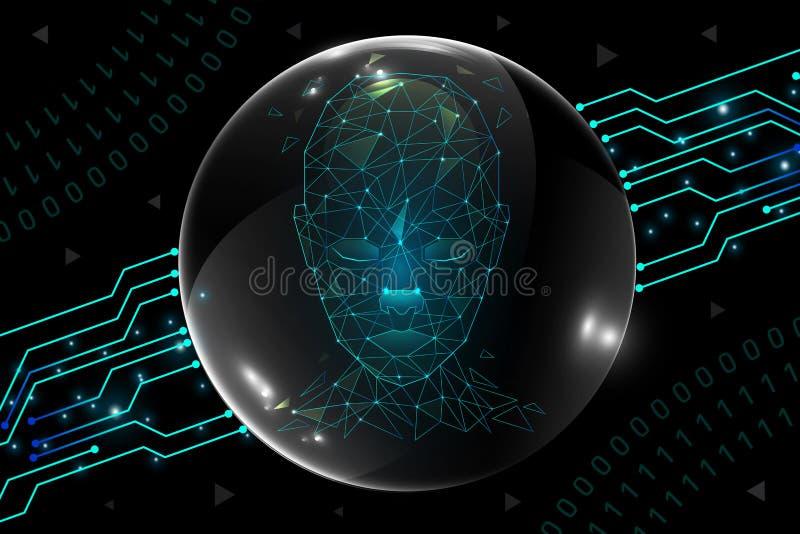 Concepto de la inteligencia artificial en fondo abstracto de la tecnolog?a ilustración del vector