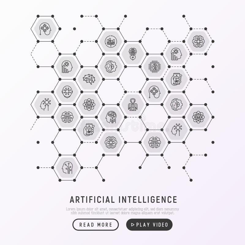 Concepto de la inteligencia artificial en panales stock de ilustración