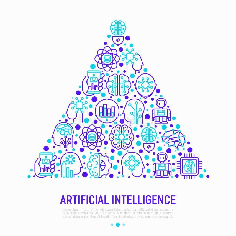 Concepto de la inteligencia artificial en triángulo ilustración del vector