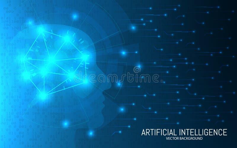 Concepto de la inteligencia artificial Fondo futurista abstracto Diseño de datos grande Cabeza con las conexiones en un binario ilustración del vector