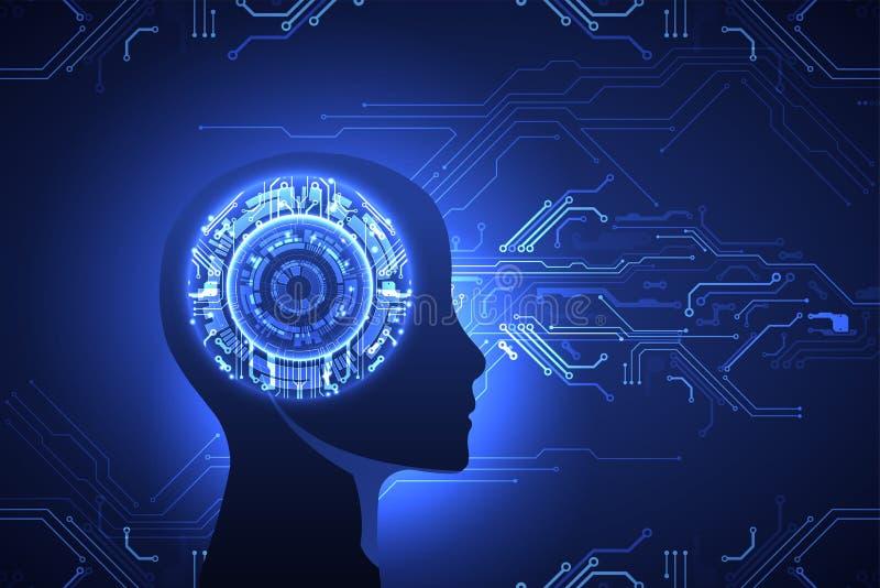 Concepto de la inteligencia artificial Fondo de la tecnología stock de ilustración