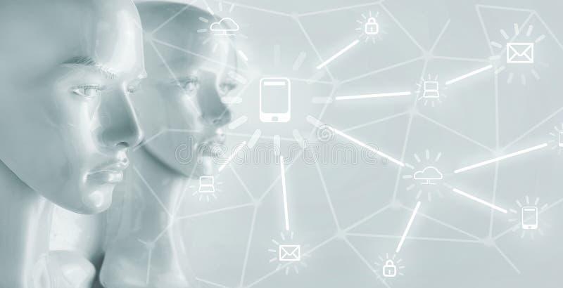 Concepto de la inteligencia artificial - Internet, red, globalizati imagenes de archivo