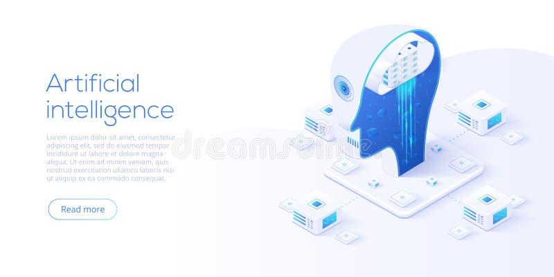 Concepto de la inteligencia artificial o de la red neuronal en el ejemplo isométrico del vector Neuronet o fondo de la tecnología stock de ilustración